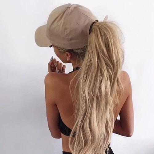 Wavy Long Hair with Baseball Cap