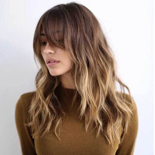 Wavy Ombre and Long Bangs