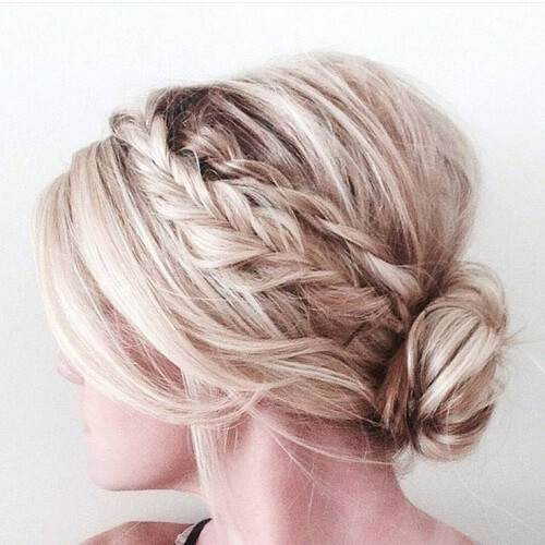 Low Bun & Braids Cute Hairstyles for Shoulder Length Hair