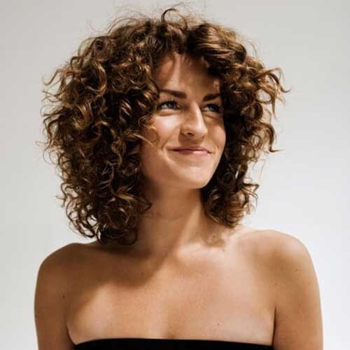 Stacked Shoulder Length Curly Hairstyles