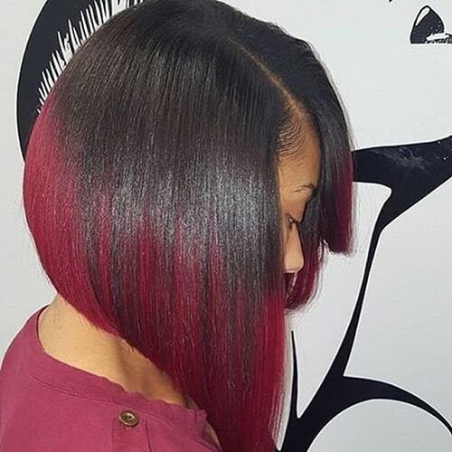 Angled Long Bob Red Ombre Hair