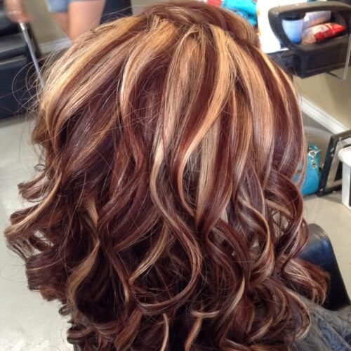 Auburn Hair Color with Caramel Streaks