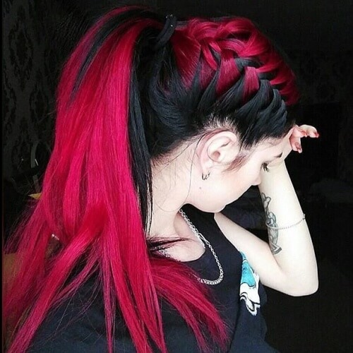 Black and Magenta Hairstyle
