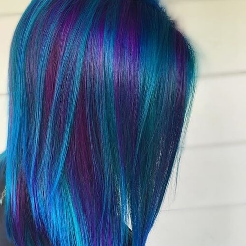 Blue Hair with Purple Highlights