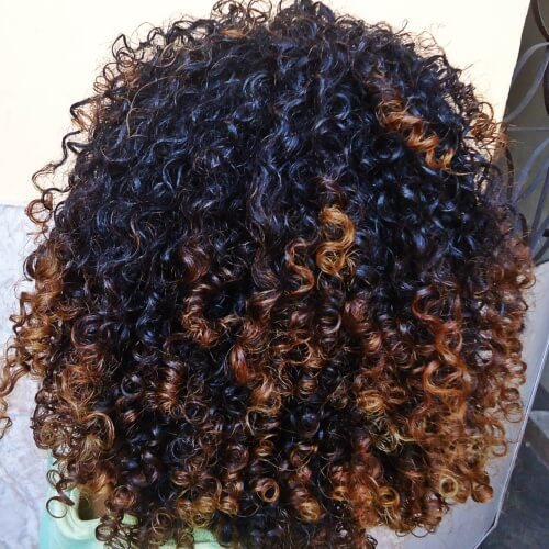 Curly Auburn Tips
