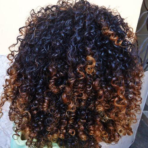 Curly Auburn Tips