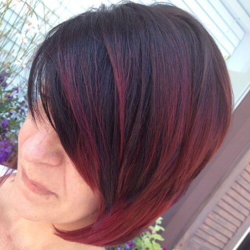 Dark Red Ombre Short Hair