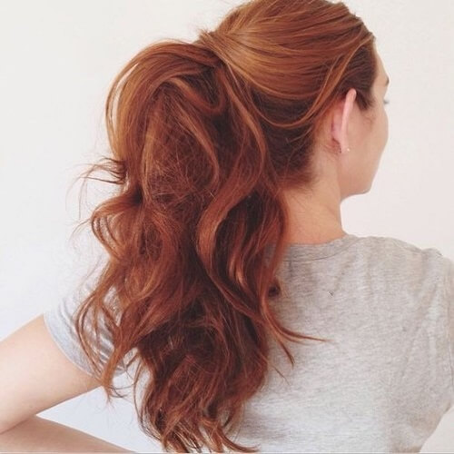 High Ponytail with Auburn Hair Color