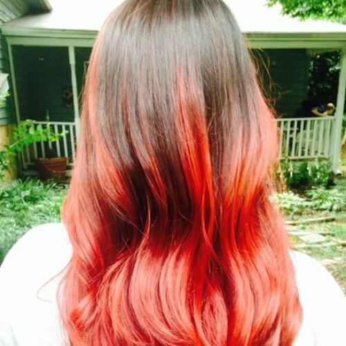 Light Brown to Rusty Red Ombre Hair