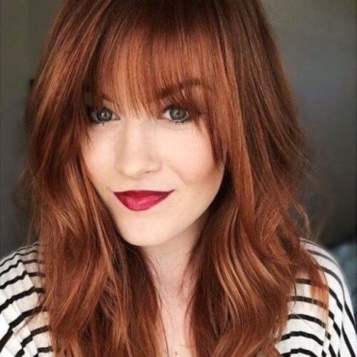 Medium Auburn Hair with Bangs