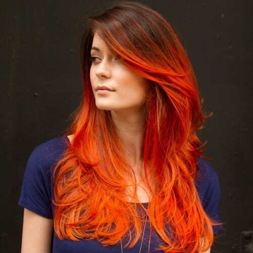 Orange Red Ombre Hair