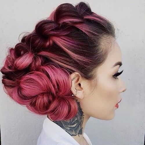 Pink Red Updo