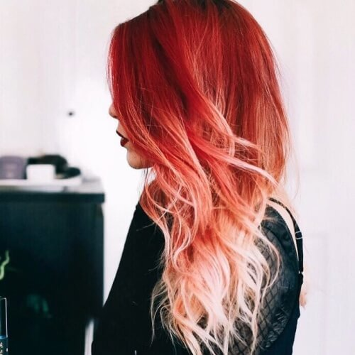 Platinum Blonde with Red Ombre