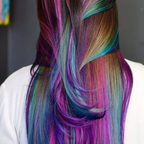 Rainbow Highlights Mermaid Hair