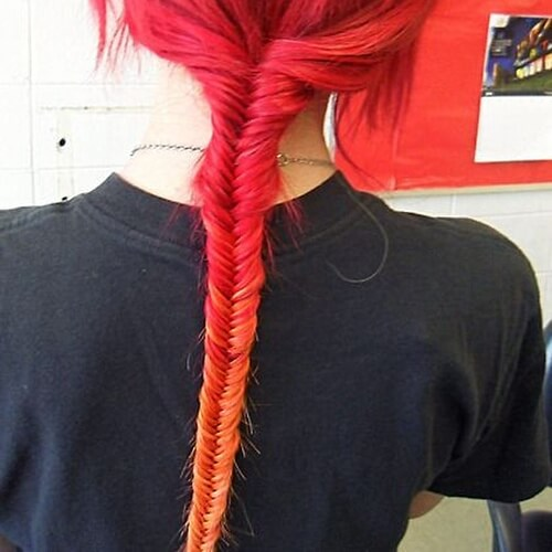 Red Ombre Hair Fishtail Braid
