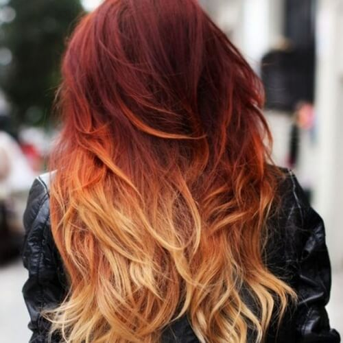 Red Ombre Hair with Blonde