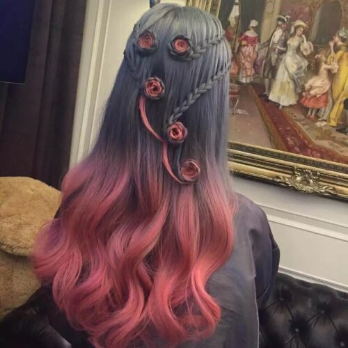 Red Ombre Hair with Complex Styling