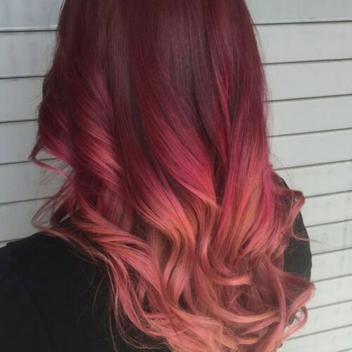 Red Ombre Hair with Rose Gold Tips