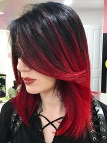 Shoulder Length Red Ombre Hair
