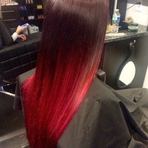 Smooth Red Ombre Hair