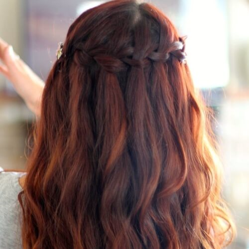 Waterfall Braid with Auburn Hair Color Tints