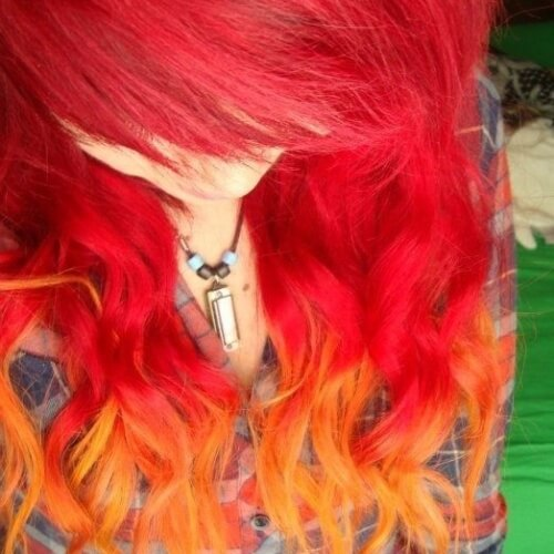 Watermelon Red to Orange Hair