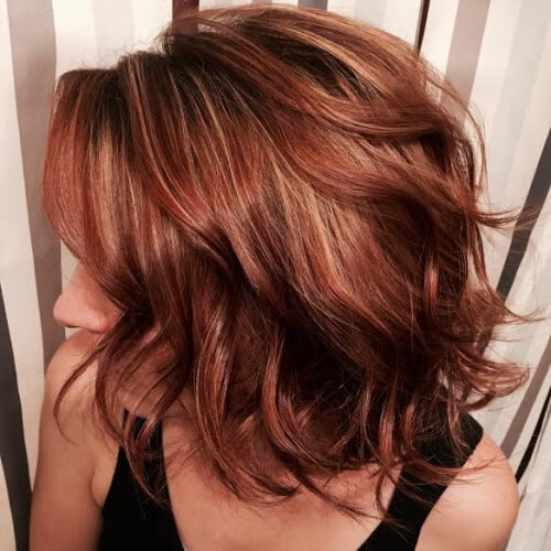 Wispy Caramel Highlights on Red Brown Hair