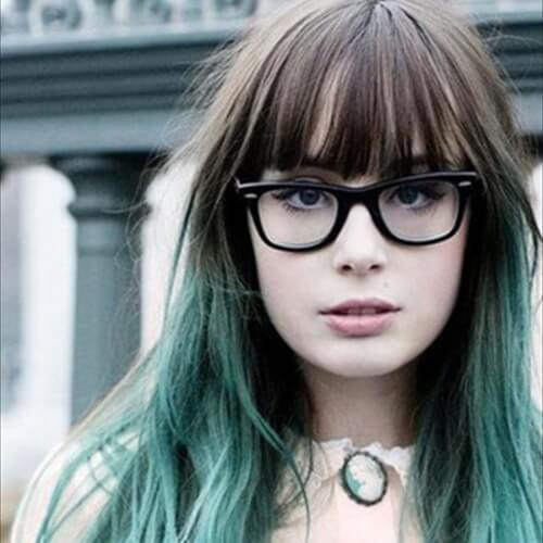 Bangs and Blue Green Ombre