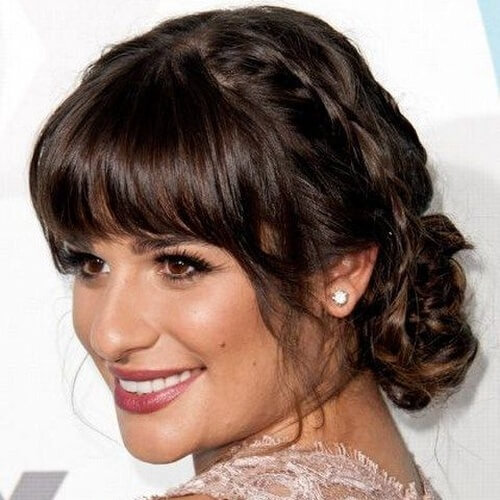 Bangs and Low Bun