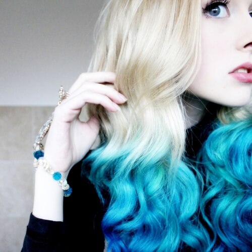 Blonde to Blue Ombre Hair