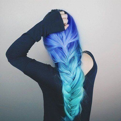 Blue Ombre Hair with Braid
