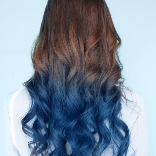Brown to Blue Ombre Hair