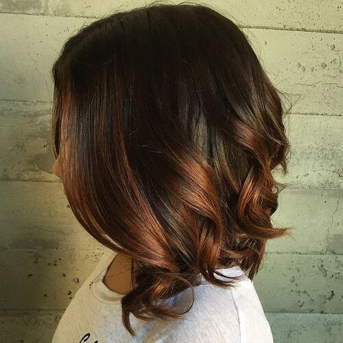 Chocolate Brown Hair with Auburn Lowlights