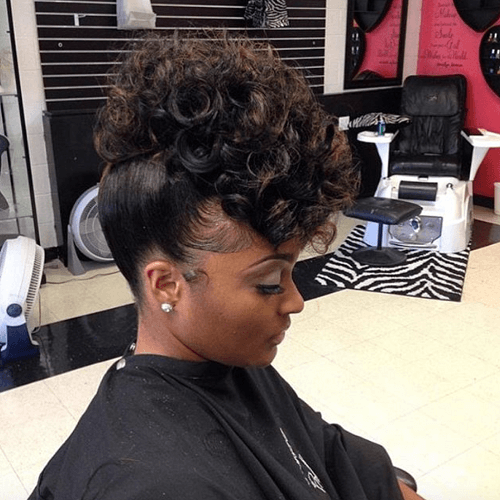 Curly Faux Hawk Sew ins Hairstyles