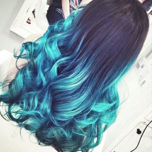 Cyan Blue Ombre Hair