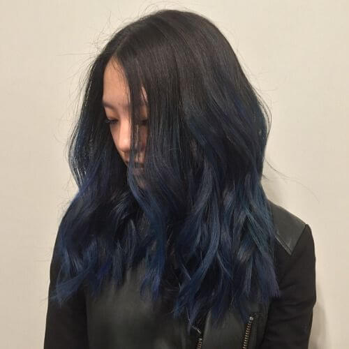 Dark Brown and Navy Balayage