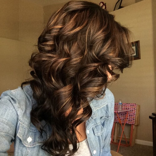 Deep Chocolate Brown Hair with Highlights