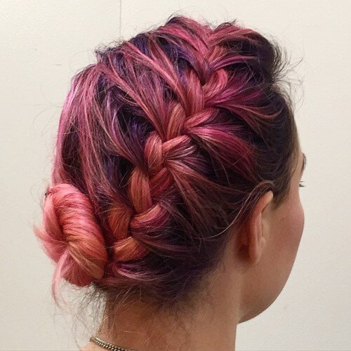 Diagonal Braided Updos for Short Hair