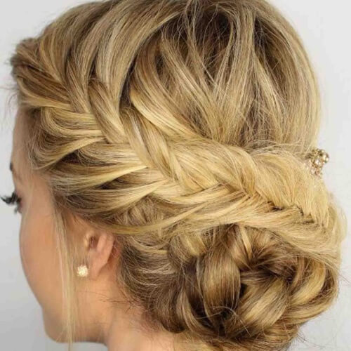 Fishtail Braid and Low Bun