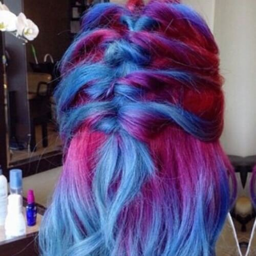 Half Up Blue and Red Hairstyle