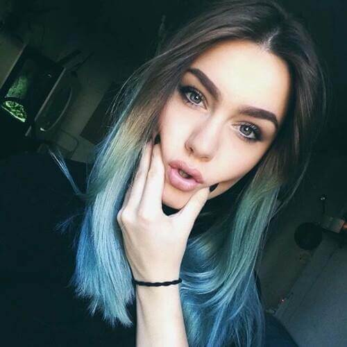 Light Brown to Light Blue Ombre Hair