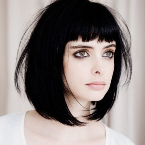 Long Bob with Bangs Black Hair