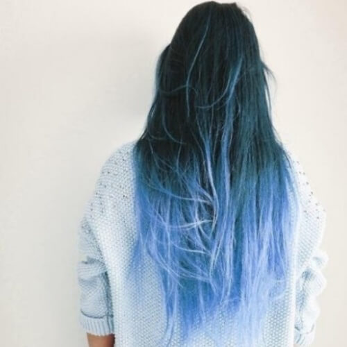 Long Hair with Blue Ombre