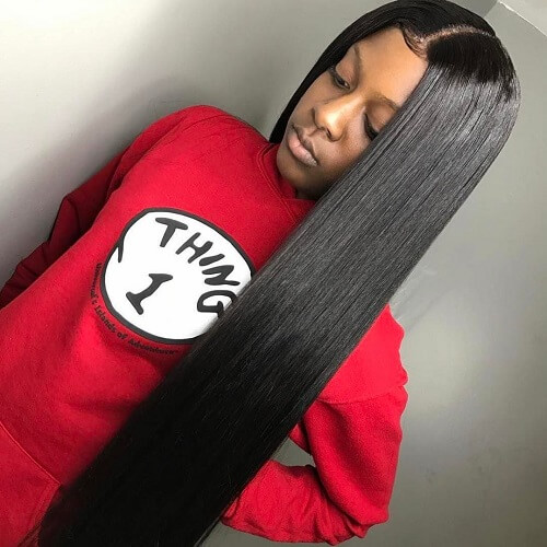 Long Straight Sew in Hairstyles