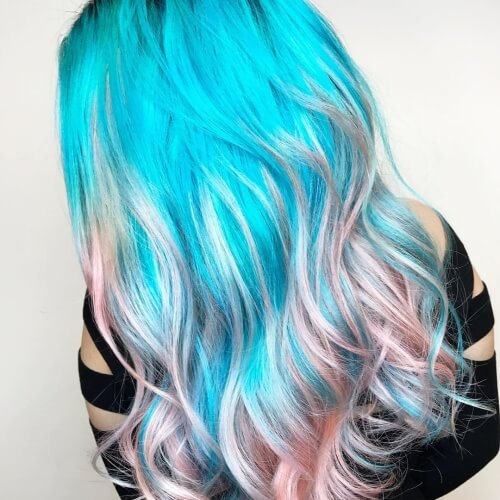 Neon Blue Ombre Hair with Pastel Mix