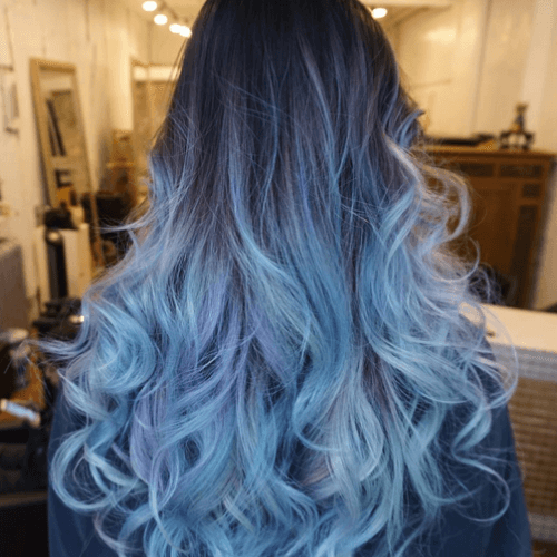 Periwinkle Blue Ombre Hair