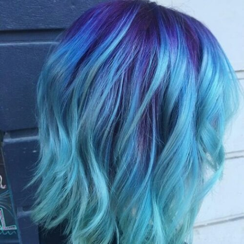 Purple Roots and Blue Ombre Hair