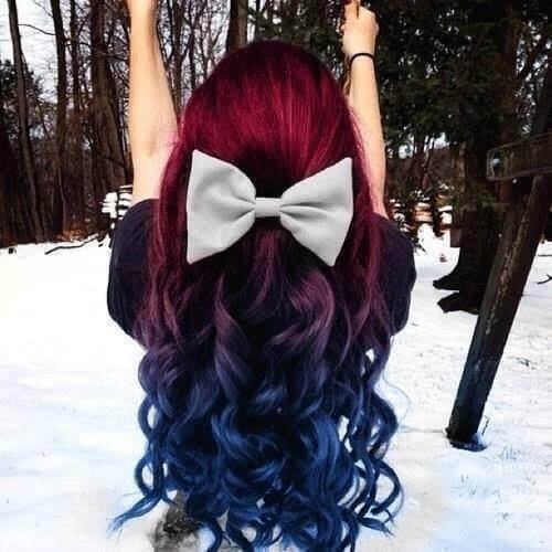 Red to Blue Ombre Hair