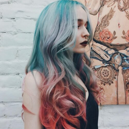 Rusty Orange and Pale Blue Ombre Hair