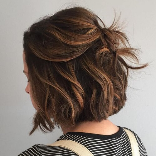 Short Chocolate Brown Hair with Blonde Highlights